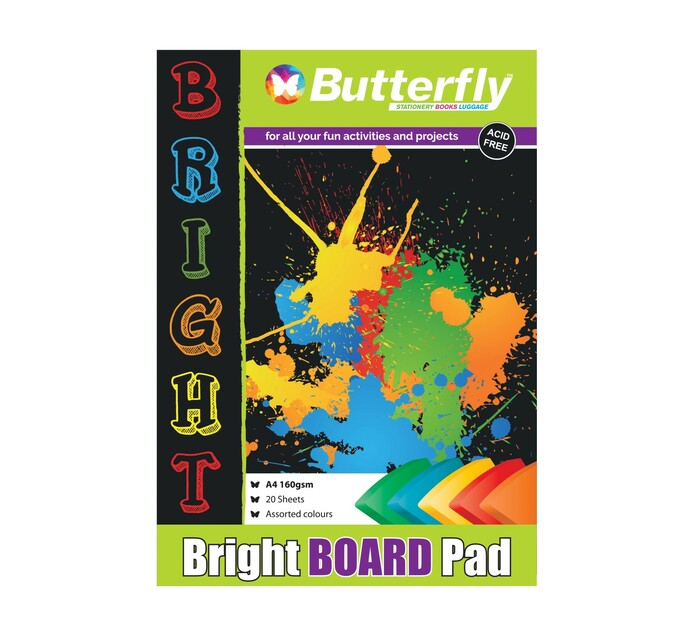 Butterfly A4 Pastel Project Board Assorted 20 Sheets