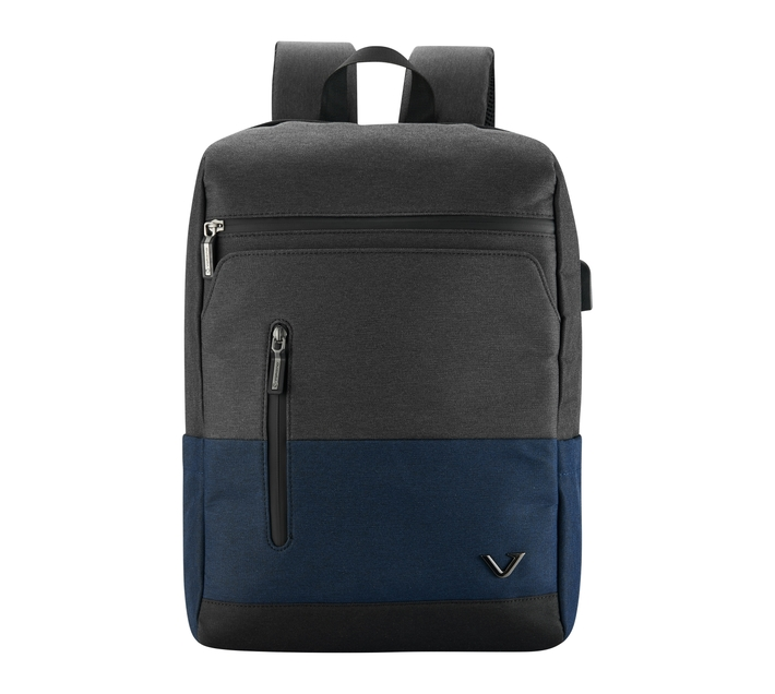 """Volkano Infinity Series 15.6"""" (39.6 cm) Backpack in Grey and Navy With Adjustable Padded Shoulder Straps for Added Comfort During Wear and Contoured Padded Back"""