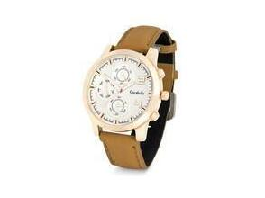 Mens round rose gold watch with tan leatherette strap and rose gold bezel