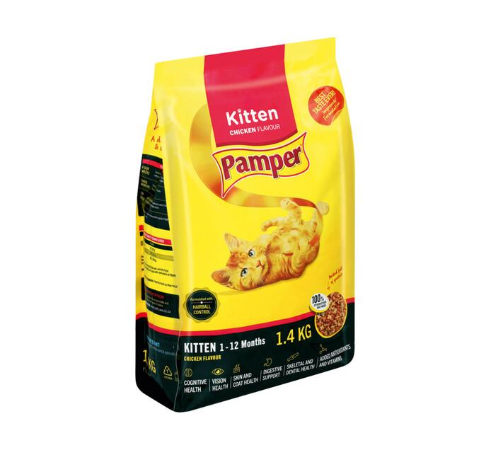PAMPER DRY CAT FOOD 1.4K, KITTEN CHICKEN