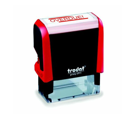 Trodat 4911 S-Printy - Stock Text Stamp - Overdue Red Ink