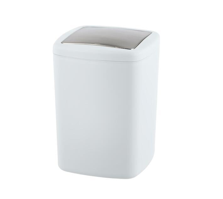 WENKO Swing Cover Bin - Barcelona Range - White - Unbreakable - 8.5L