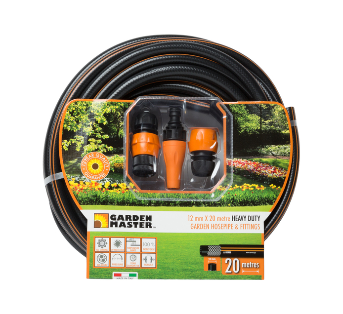 Gardenmaster 20 m x 12 mm Hose Pipe plus Fittings