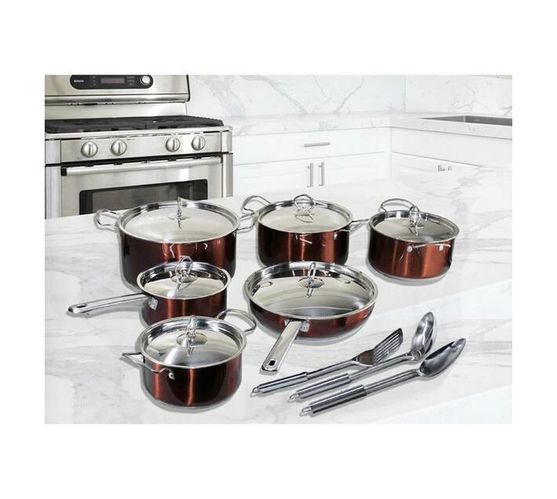 15 Piece Conic Stainless Steel Heavy Bottom Cookware Set - Brown