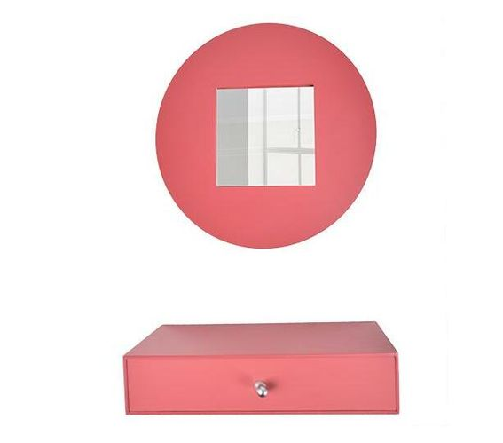 Mirror and drawer set-red