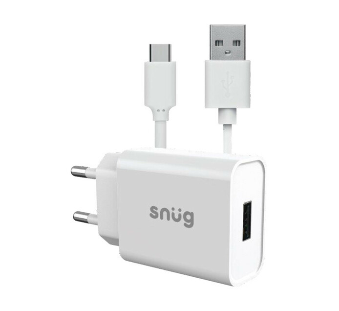 Snug Lite 1 Port 2.1A Charger + Typce C Cable White