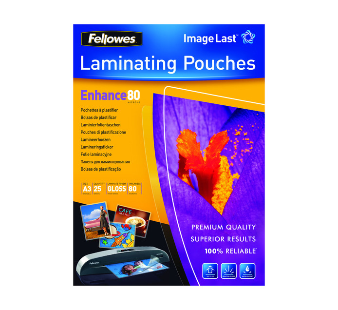 Fellowes A3 80 Micron ImageLast Gloss Laminating Pouches 25-Pack