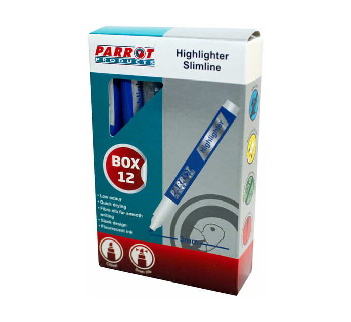 Parrot Products Slimline Marker Highlighters Blue 12-Pack