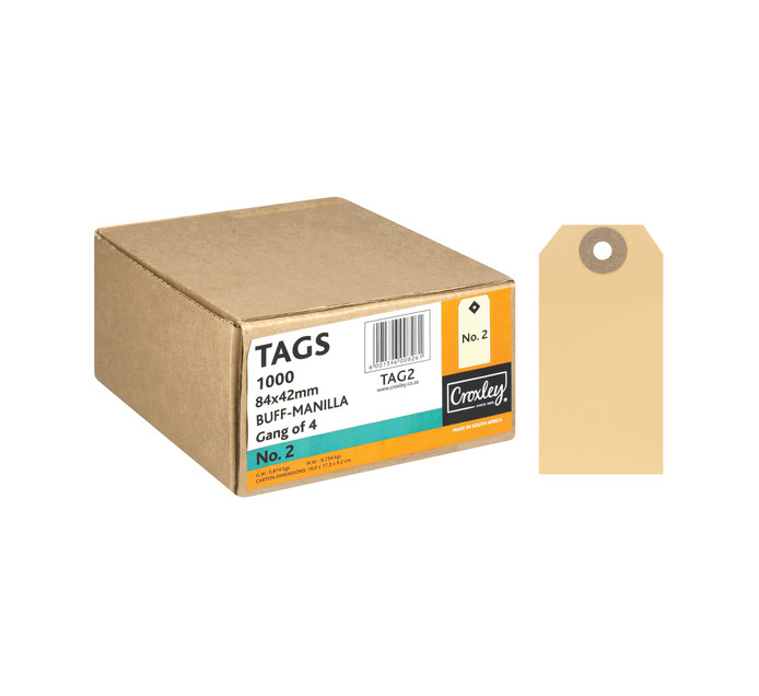 Croxley No.2 Tags 1000 Pack