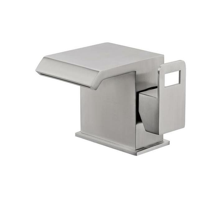 CHROMECATER Basin/Bath Mixer Wide Short Square Spout Brushed S/Steel