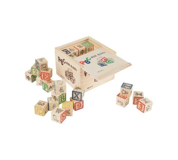 Educational ABC Wooden Blocks In Storage Box - 48 Piece