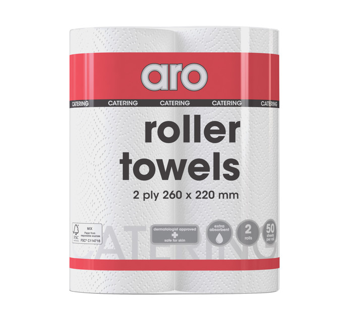 ARO Roller Towels White (1 x 2's)