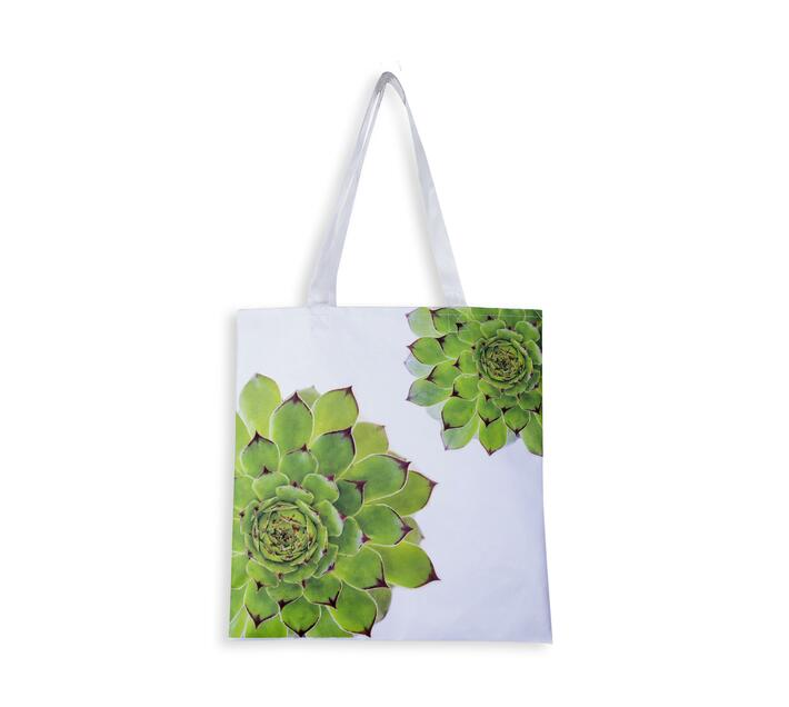 Tote Bag with two succulent print in front.