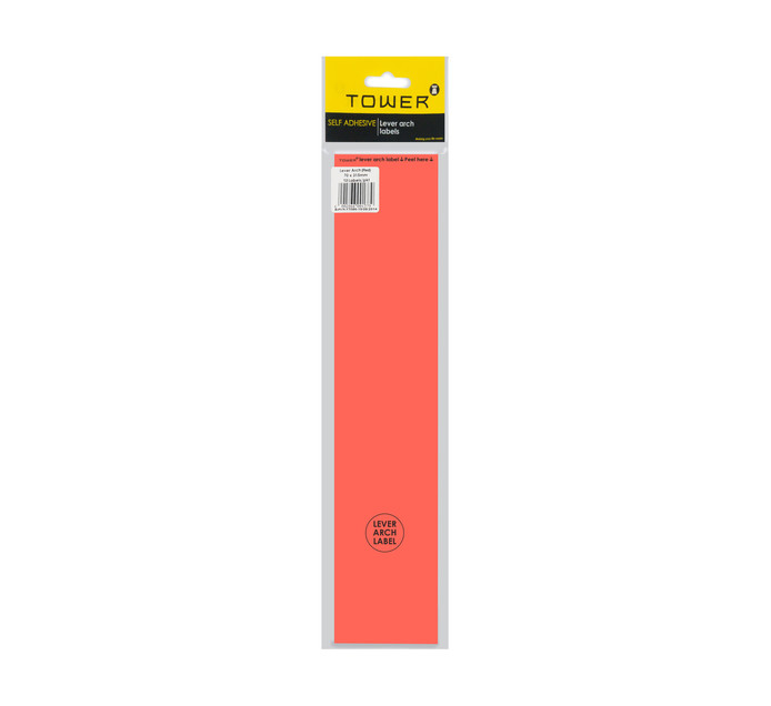 Tower Lever Arch Labels Red 12-Pack Red