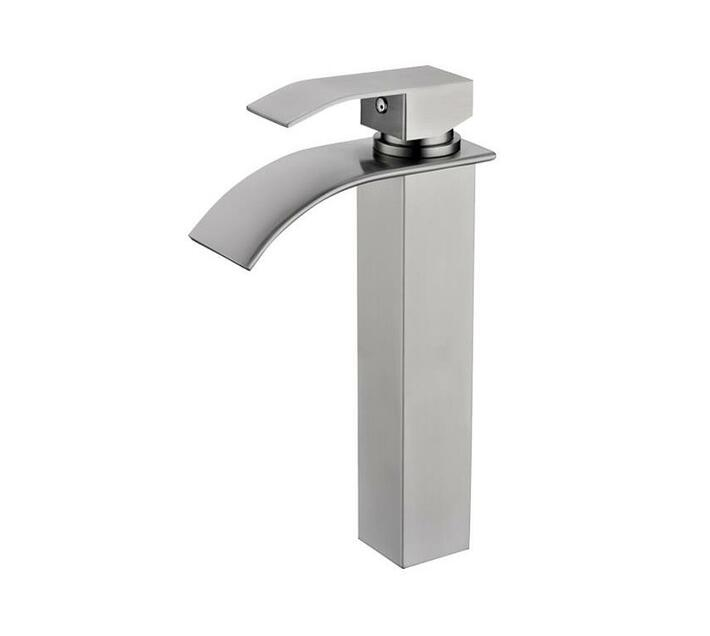 CHROMECATER Basin Mixer Tall Square Wide Spout Brushed S/Steel