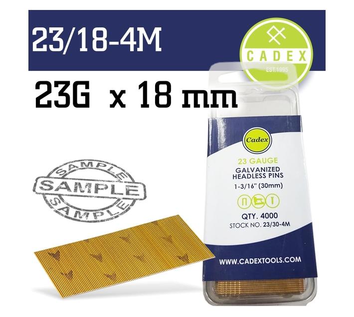 CADEX HEADLESS PIN 23G 18MM GALV 4000PCE