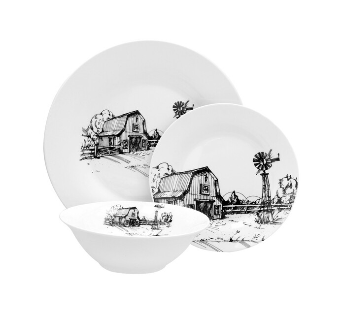 12 Piece Sketched Farm Dinner Set