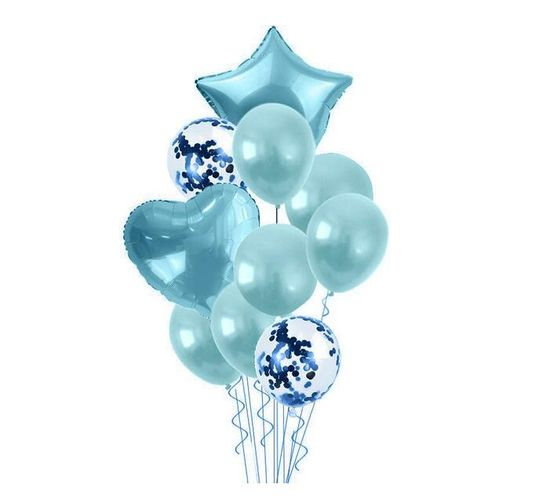 Bubblebean- Blue Bunched Party Helium Balloons - 10 Piece