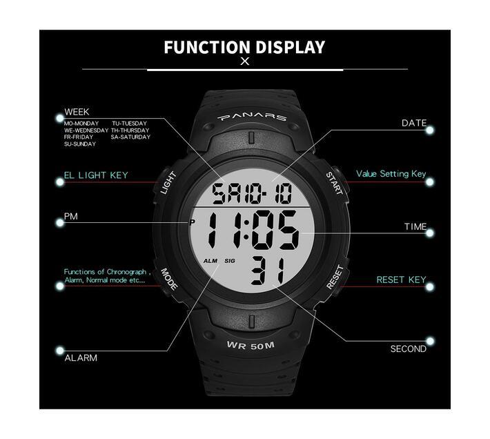 Panars LED Sport Digital Watch 8208 Black
