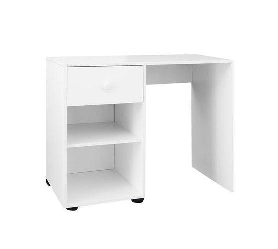 Multifunctional Desk with 1 Drawer in Melamine White