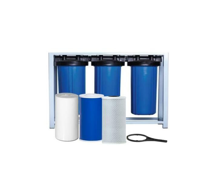 Water Filtration System - 3 Stage 10 inch Big Blue Housings and Filters on Frame
