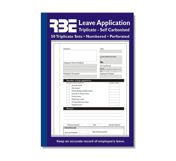 RBE A5 Leave Application Book Each