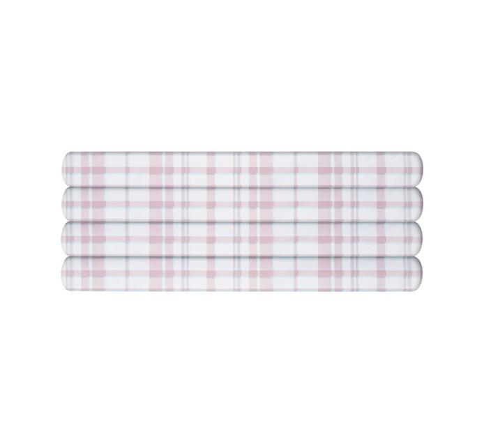 Primaries Single Fitted Sheet tartan pink