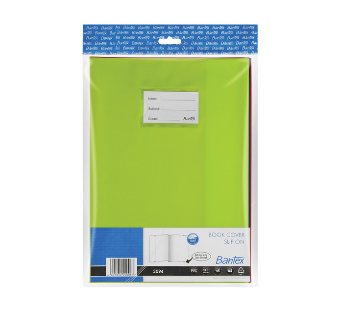 Bantex PVC Book Cover Assorted 5 Pack