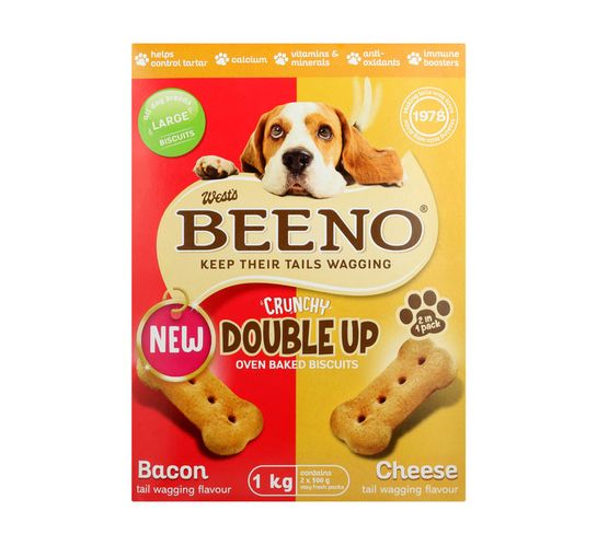 BEENO DOG BISCUITS 1KG, DOUBLE UP LARGE