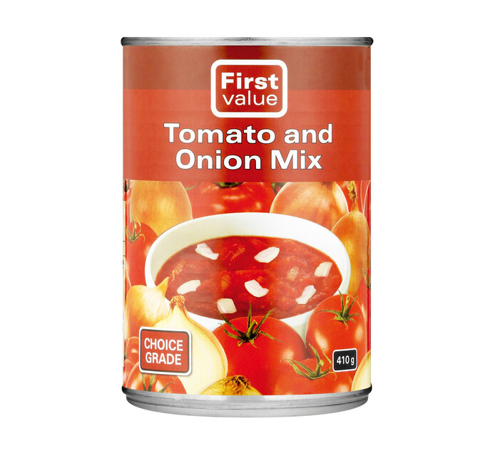 First Value Tomato & Onion Mix (12 x 410g)