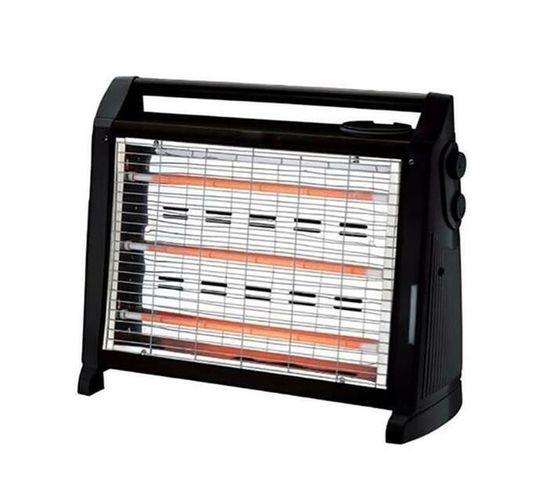 1500W Three Bar Quartz Heater with Fan, Humidifier & Dual Controls - Black