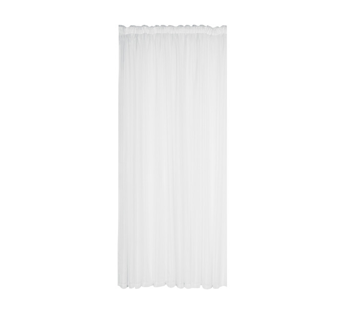Design Collection 500cm x 218cm Plain Voile Taped Curtain White