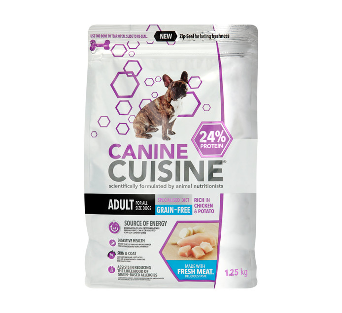Canine Cuisine Dry Dog Food Grain Free Chicken and Potato (1 x 1.25kg)