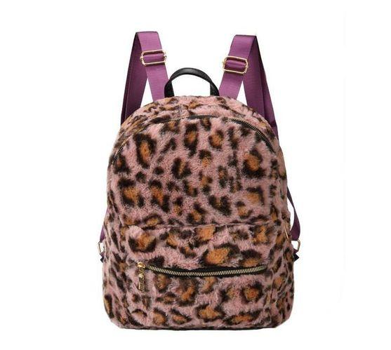 Faux Leopard Fur Backpack - Pink