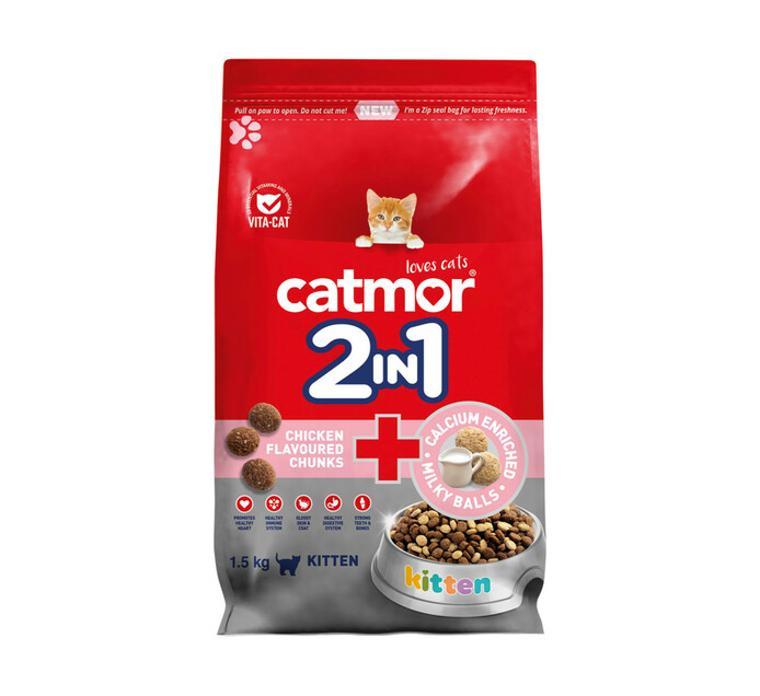 Catmor 2in1 Dry Cat Food Chick Chunk+Cal Milky Bls (10x1.5kg)