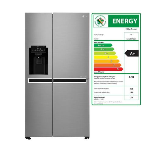 LG 601 l Side-by-Side Frost Free Fridge with Water and Ice Dispenser