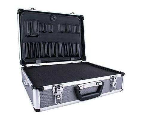 ALUMINIUM CASE 45.5 X 33 X 15.2 WITH 5 X DIVIDERS AND FOAM INSERTS