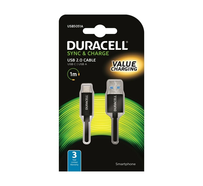 Duracell 1 m Duracell Type C charge and Sync Cable