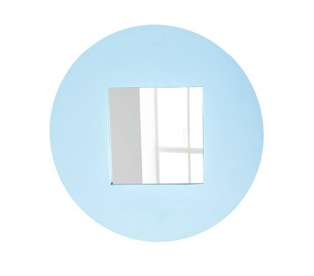 Round wooden frame mirror -sky blue