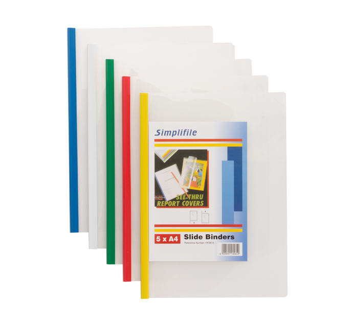 Kenzel Slide Binder Files Assorted 5-Pack