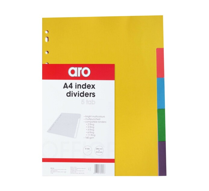 ARO A4 5 Tab File Dividers Assorted 5-Part