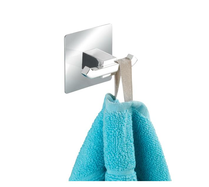 WENKO Turbo-Loc Stainless Steel Wall Hook 2 Hook Quadro Range - No Drilling Required