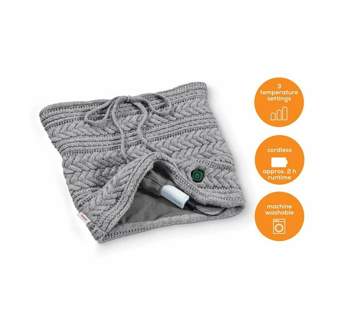 Beurer Heated Grey Tube Scarf with Power Bank HK 37 To Go