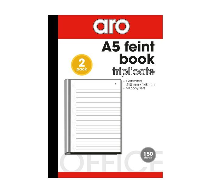 ARO A5 Pen Carbon Feint Triplicate Books 2-Pack