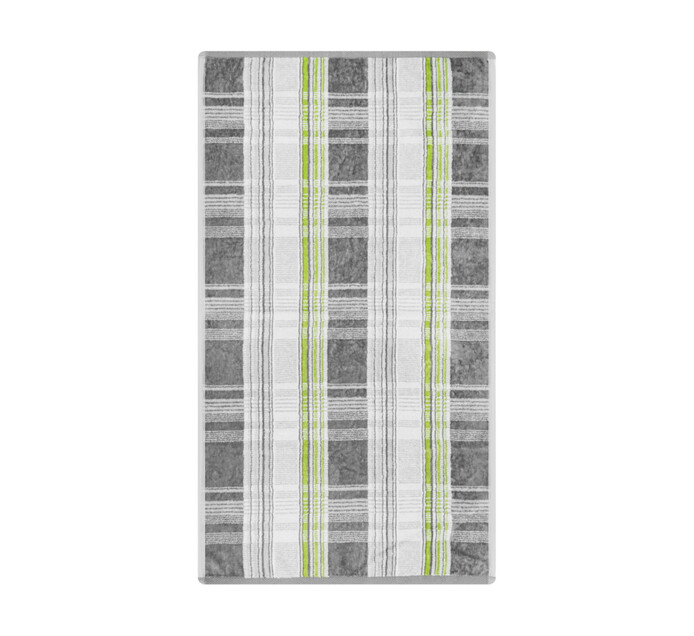 Glodina Tartan Velour Hand Towel Grey & Lime