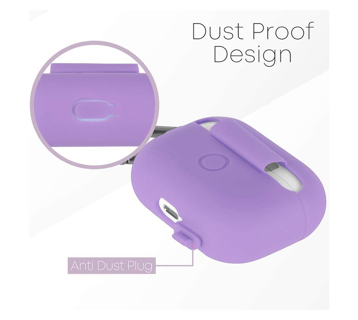 Goospery Airpods PRO Protective Silicone Case with Carabiner (Purple)