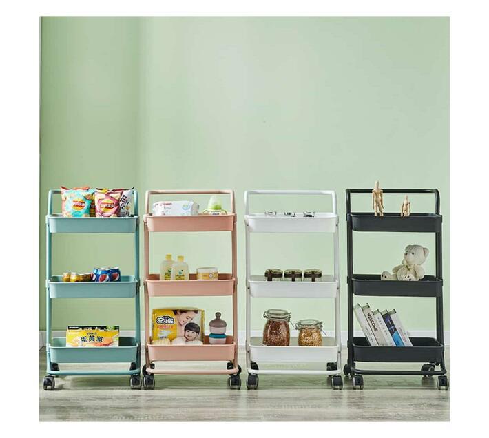 Multifunctional Metal Trolley Kitchen Storage Rack - White