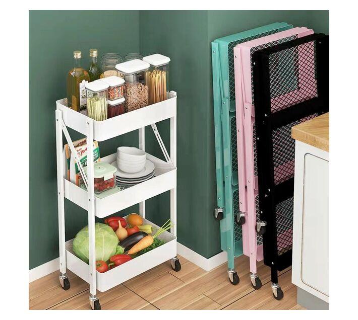 Portable & Foldable Kitchen Trolley Organizer Rack with Wheels - Black