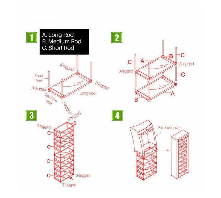 Multipurpose Portable Folding Shoe Rack 9 Tier Purple
