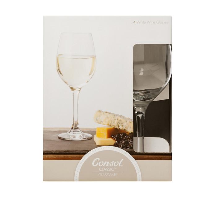 Consol 385 ml Lyon White Wine Glasses 4-Pack
